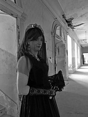 The Sad Princess (blackietv) Tags: steampunk black lace long veil crown crossdresser tgirl transvestite crossdressing transgender grayscale portrait blackwhite