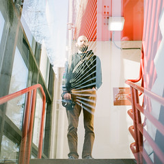 Kevin Double Exposure (Andrew H Wagner   AHWagner Photo) Tags: yashicamat124g yashica 124g tlr 6x6 film thefindlab grain grainy filmgrain analog filmshooters find filmphotography analogfilm colorflm colorfilmnegative negativefilm 120film 120format mediumformat doubleexposure fuji400h fuji400hpro fuji 400h 400hpro maryland md towsonmaryland towson person portrait bokeh dof photographer city streetphotography street