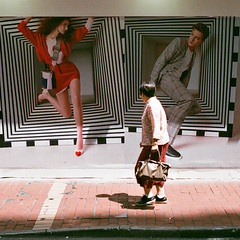 """""""when they met"""" (hugo poon - one day in my life) Tags: rollei35 film fujicolorsuperiaxtra400 hongkong causewaybay foomingstreet shop heandshe passingby three sunny colours encounter sign shopfront"""