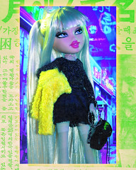 Cross My Heart and Hope to Die (alexbabs1) Tags: bratz doll dolls mgae mga entertainment cloe angel 2013 2012 prototype totally polished ooak cute glam blonde bangs pigtails baby spice black sweater dress yellow fleece jacket coat fashion passion goth pop girly seoul south korea newspaper street lights neon vibe aura aesthetic snapped cyber punk neo iconic hahahahahahahaha sarah palins