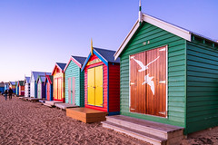 Brighton Bathing Boxes (SemiXposed) Tags: beach outdoors sunset golden hour melbourne brighton winter sand houses cabine baths bathing box colour