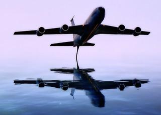 Airplane Reflections in Lake Michigan