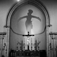 Christ winged (ADMurr) Tags: italy italia sicily sicilia church nave shadow christ cross rolleiflex t 35 zeiss tessar 6x6 square fuji acros dad586