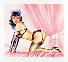 Bettie's Boudoir by Dave Stevens, 1987 (gameraboy) Tags: davestevens art illustration vintage bettiepage lingerie pinup pinupart stockings thighhighs garterbelt bedroom boobs