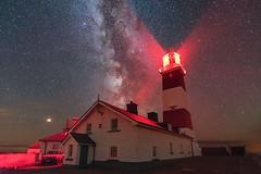 'Bardsey Lighthouse' - Ynys Enlli (Kristofer Williams) Tags: lighthouse bardseyisland ynysenlli island squarelighthouse night sky stars redlight milkyway nightscape wales mars