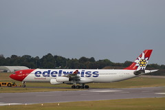 edelweiss Airbus A340-313 HB-JMD, departure CBG (robertetienne) Tags: airbus a340 cambridgeairport hbjmd edelweiss aircraft airplanes airlines jets aviation