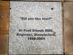 Doctor Fred Dibnah, M.B.E. ( Steeplejack ) Street art quotation,  Bolton (rossendale2016) Tags: grey marble explosives without similar bates blaster method fashioned olf burning stantions smoking smoker smoke drink pub painter builder celebrity local respected well special authority read books dvd writer author speaker dinner after charismatic fatal falling dangerous rope tied attached ladders wooden point repaid vane weather spire church steeplejack jack steeple talented photogenic famous rover land demolition chimney climb climber dynamite demolish contractor demolishing architect presenter television tv pavement art street dibnah fred dr doctor