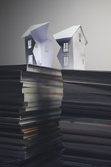 Quake... (CatMacBride) Tags: book house earthquake stack pile paper