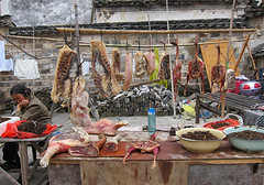 China - Butchers 'shop' (Mary Faith.) Tags: butcher meat china vendor stall shop outdoor