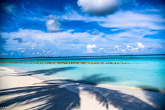 Shadows in paradise- Indian Ocean, Maldives. (D.R°) Tags: maldive maldives summer beach indianocean ocean blue nature shadow sun holiday sky palm colors