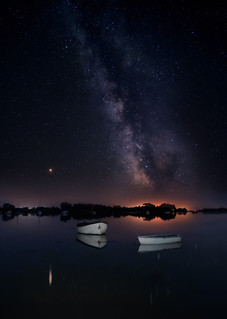 Mars, the Milky Way, and two boats