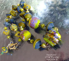 Necklace Beloved Chartreuse (Laura Blanck Openstudio) Tags: openstudio openstudiobeads murano glass handmade lampwork beads jewelry big huge whimsical funky odd colorful multicolor abstract asymmetric earthy organic boho upscale art fine arts artist artisan made usa nuggets rocks rounds donut bold bright matte necklace etched frosted opaque glow glowing spiral wrapped raises swirl frit purple violet grape green kiwi wasabi parrot chartreuse blue ocher bicones