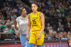 Chicago Sky head coach, Amber Stocks, talks to Gabby Williams (15) as she leaves the court in the Lynx vs Sky game (Lorie Shaull) Tags: amberstocks chicagosky gabbywilliams minnesotalynx lynx wnba basketball womensbasketball