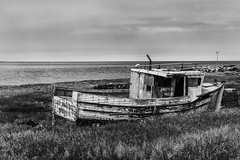 Lady Bain - Yarmouth, NS (SNAPShots by Patrick J. Whitfield) Tags: abandoned boat fishingboat shore stranded decay old wreck lines patterns details dof texture wood rustic bnw bw blackwhite blackandwhite noire noireetblanc monochrome landscapes outside exploring adventure seaside seascape sea ocean water waves shores countryside coast maritimes rural