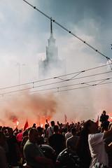 Warsaw Uprising, One Minute of Silence (ewitsoe) Tags: canoneos6dii ewitsoe polska street uprising warszawa erikwitsoe ewi poland urban warsaw memorial remember city canon smoke war 60seconds flag flare polski