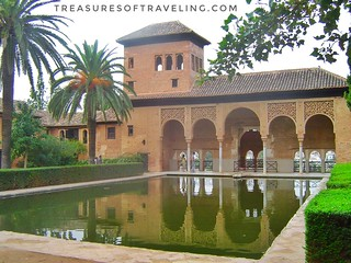 I loved walking through the beautiful gardens of the Alhambra, a palace and fortress complex located in Granada, Spain. The architecture, the gardens and the backdrop of the Sierra Nevada Mountains make this fortress a Spanish treasure! This is just one o