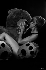 """Bear"" Necessities ;-) ..3 (2forArt) Tags: gophoto artistic studio shoot woman model posing bw monochrome"