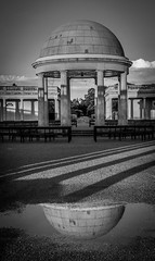 The Bandstand at Eaton Park, Norwich (1 of 2) (+Pattycake+) Tags: eatonpark bandstand reflection norwich moon evening clouds shadows columns seats monochrome benches summer architecture park bw lumixdmcgm1 sky blackandwhite norfolk