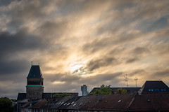 view from my sleeping room windows. not too warm summer morning (mkniebes) Tags: church bochum summer sky clouds morning weather rooftops nrw germany sun urban city cityscape