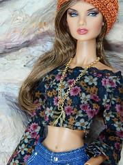 Boho Days – the black funnel sleeve flower top (Levitation_inc.) Tags: ooak doll dolls clothes handmade fashion fashions royalty nuface integrity toys levitationfashion etsy barbie barbiestyle poppy parker summer boho 2018