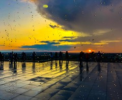 Rain and Sunset (denis.gorcovenco) Tags: raindrop city silhouette sky rain montreal sunset