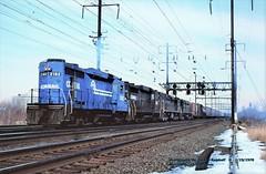 CR 2182-2224-4432-4406, N12-P3, Morrisville, PA. 2-19-1978 (jackdk) Tags: train railroad railway cr conr pc penncentral pennsy nec northeastcorridor morrisville morisvillepa signal signalbridge signals railroadsignal emd emdgp30 gp30 e44 southbound