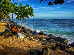 Duke Kahanamoku Beach (jcc55883) Tags: dukekahanamokubeach beach beachscene ocean pacificocean sky clouds horizon guitar guitarplayer lateafternoonlight light sand surf hawaii oahu honolulu alamoanaarea waikiki luckywelivehawaii hilife hilife808 808 ipad