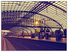When Doves Cry (Silke Klimesch) Tags: berlin hauptbahnhof tiergarten moabit hbf germany regierungsviertel lehrterbahnhof flickrfriends governmentdistrict berlincentralstation sunset vintage matte steel glass orange blue purple railway rails empty whendovescry prince 1984 garecentraledeberlin estacióncentraldeberlín stazionediberlinocentrale estaçãocentraldeberlim berlinmerkeztrenistasyonu берлинцентральный architektur architecture arhitectură architettura arquitectura modern gare stazione estación gară estação kolodvor dworzec olympus omd em5markii microfourthirds panasoniclumixg12514asph on1photoraw2018 luminar 7dwf lines travelbug fernweh