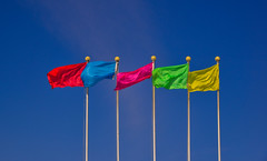 Colorful multicolored flags against blue sky (phuong.sg@gmail.com) Tags: abstract anniversary background banner black blank blowing blue brazil bright bunting business carnival celebration color colorful concept country dark decoration design event feast festival flag flagpole flap fluttering flying green hanging holiday international national party pink rainy red sign sky string symbol tourism vibrant violet wave wind yellow