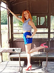 Model: Maartje                                                                             Location: At an old abandoned train in Belgium (PvdW fotografie) Tags: beautifullwomen beautifullwoman beauty beautifulleyes beautifullhair hair redhair gingerhair ginger gingermodel redheadmodel model modelling urbexmodel urbanmodel pinupmodel pinup tattoomodel tattooed tattoo inked red redheels redshoes highheels redlipstick blue blueeyes highwaist pants croptop shortpants shoot fashion fashionphotography fashionfotografie glamourfotografie glamourphotography glamour ink rosetattoo train trein oldtrainstation oldfashion urbexmodels urbex urban urbexandpeople railroad leg legs longlegs