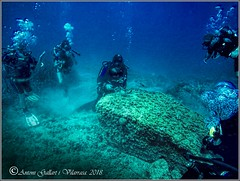 Una roca molt estranya. (Palamós - Catalunya) (Antoni G.V.) Tags: gopro scuba diving submarinisme submarinismo antoni gallart roca pedra rock mar sea toni jordi ton blue azul blau