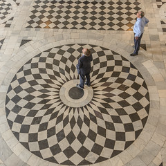 things are looking up (stevefge) Tags: 2018 greenwich london uk people candid men circles tiles pattern reflectyourworld unsuspectingprotagonists