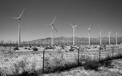 More Wind (Torsten Reimer) Tags: unitedstatesofamerica palmsprings usa windrad landscape landschaft northamerica zaun himmel california sky windmill hills blackandwhite windturbine fence unitedstates us wind sangorgoniopasswindfarm