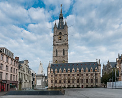 Belfry and Cloth Hall - Ghent (bvi4092) Tags: general landscape sigma outing city outdoor 18250mm holiday excursion sculpture exterior nikon urban road statue travel tower ghent photoshop architecture belgium d300s europe building trip outside street