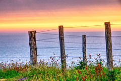 Seaside Sunset 6 (Russ Argles) Tags: seaside port quinn cornwall hdr canon 70d eos clifftop fence posts wire national trust