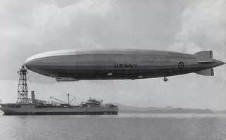 USS Patoka AO-9 off Panama Feb. 1931 with USS Los Angeles Airship moored. U.S. Naval Historical Center Photo on an E. Boyer Postcard