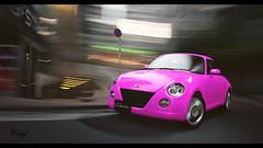 Daihatsu Copen (at1503) Tags: pink pinkcar daihatsu copen daihatsucopen japanese keicar smallcar speed motion blur turn city urban tokyo japan wheels brightpink buildings granturismo cooltones gtsport granturismosport motorsport racing game gaming ps4