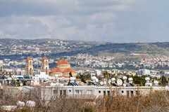View of the city and church from the territory of the archaeological park, Cyprus, Paphos (folomey) Tags: architecture building city cloudsky cyprus day holiday outdoor paphos sky tample tourism travel vacation view