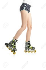 Close up  picture of woman's legs with rollerskates (MSNBC Documentaries IX) Tags: roller rollerskating active summer fitness female recreation lifestyle healthy young up girl close person skater exercise sport skating skate closeup leisure fun activity adult inline equipment woman speed movement action rollerblade rollerblading ride concept symbol legs path space blading fit leg athlete beautiful isolated studio white