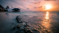 Sunset in Dhigufaru - Maldives - Travel photography (Giuseppe Milo (www.pixael.com)) Tags: photo landscape sunset peaceful nature water orange clouds maldives sun onsale beach ocean dhigufaru travel photograph photography calm sky seascape longexposure waves geotagged sea kendhoo northprovince mv
