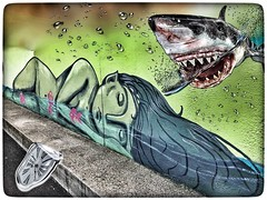 Fantasy Street Art (tatianalovera) Tags: italy italia fantastico fantasy piemonte piedmont turin torino streetart muro murales lancette ora watch orologio dormire dormirei sleeping sleep mare sea fish pesce sirena squalo shark