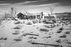 Olancha, California (paccode) Tags: solemn mojave landscape desert bushes brush blackwhite quiet clouds california abandoned monochrome shack scary farm creepy d850 forgotten hills serious olancha unitedstates us