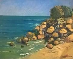"""""""La Mandre beach"""" in Cotentin (monique shaw) Tags: blue sea rocks sand landscape"""