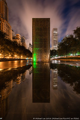Crown Fountain (20180810-DSC06746-Edit) (Michael.Lee.Pics.NYC) Tags: chicago crownfountain millenniumpark michiganavenue puddle reflection fog weather clouds night longexposure sony a7rm2 voigtlanderheliar10mmf56