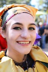 Jester (wyojones) Tags: texas texasrenaissancefestival toddmission texasrenfest renfest renfaire renaissancefaire faire renaissancefestival festival trf girl woman brunette maiden jester cute pretty beautiful beauty greeneyes smile hat wyojones
