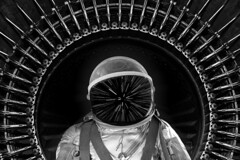 Major Tom to Ground Control - another edit († David Gunter) Tags: major tom spae spaceman astronaut star trails bw light speed time travel composite