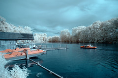 Sunday afternoon (gambajo) Tags: infrared infrated infrarot boat water paddleboat surreal leisure recreation people street streetphotography