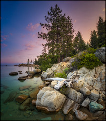 Chimney Beach, Lake Tahoe (PrevailingConditions) Tags: laketahoe chimneybeach water lake rocks trees landscape nv nevada sunrise rock tree sky forest mountain