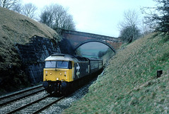 Meanwhile up on the S & C.....hammering south to Kirkby Stephen and Ais Gill summit, on one of the daily workings passes Waitby....47449 10-40 Carlisle-Leeds Waitby nr Kirkby Stephen 10-05-1986 (the.chair) Tags: 47449 1040 carlisleleeds waitby nr kirky stephen may 1986