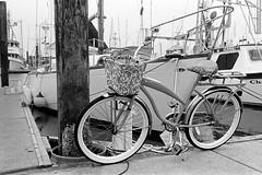 Dock Bike (bac1967) Tags: kodak kodaktrix kodaktrixfilm trix tx kodaktx rodinal rodinal150 ro9 r09 leica leitz leicaiiif leicarangefinder leitzwetzlar summaron summaronlens or oregon 135 135film 35mm coosbay blackandwhite blackandwhitefilm blackwhite monochrome monotone bw grain film charleston charlestonor marine dock marina fog pier bike bicycle basket huffy boat sailboat sail